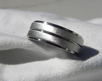 Titanium Ring or Wedding Band, Unique Look, Frosted Polished Finish