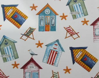 Sea side Beach Hut, deck chair, Glass decal waterslide decals fused glass ceramics ideal coasters mugs plates permanent transfer large sheet