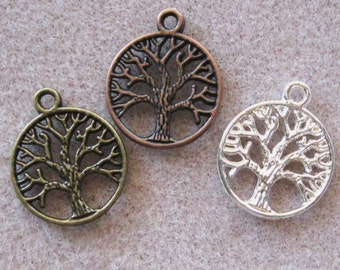 Tree of Life Charm Pendants Silver or Antique Bronze or Copper Mix 823