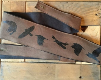 Guitar Strap-Flying Crow Screen Printed Design-music-gifts for musicians-handmade-canvas-unique gifts-boyfriends-girlfriends-cool gifts