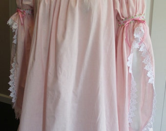 DDNJ Renaissance 1 tier Split Bell Sweetpea Chemise Plus Custom Made ANY Size Cosplay Anime Gypsy Nightgown Pirate Kawaii Princess Medieval