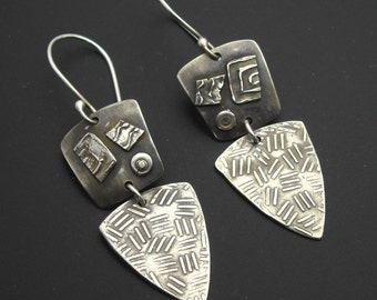 Calypso - Sterling Silver Tribal Earrings - Dark Patina- Ready to Ship