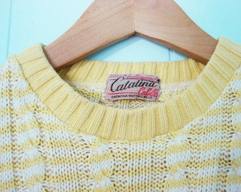 1940s Catalina Pullover Hollywood Sweater Men Retro Vintage Cable Knit