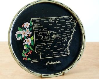 Souvenir Serving Tray Arkansas  • Vintage Metal Serving Tray • State Souvenir