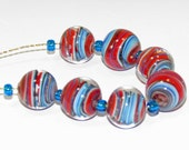 Handmade Lampwork Glass Beads - Encased Ribbons in Red & Blue
