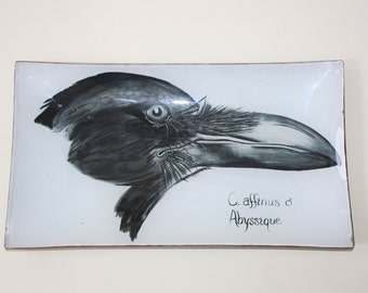 Decoupage Glass Tray with original Crow art