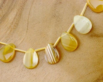 Yellow Botswana Agate Tip Drill Beads - Destash Sale! #T230