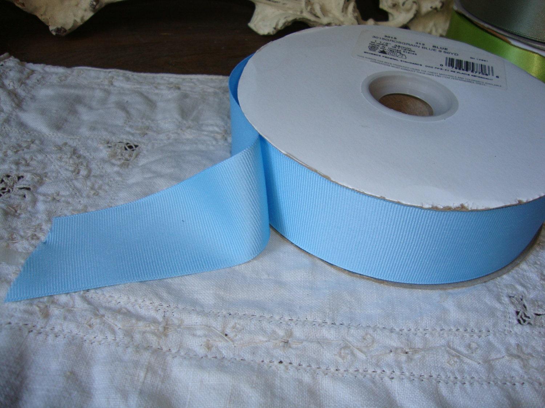 Light blue ribbon destash 3 yards grosgrain ribbon 1 1 2 for Wedding craft supplies
