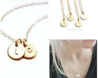 Gold Personalized Necklace/ Gold Initials Necklace/ Hand Stamped Necklace/ 1 2 3 Initials Necklace/ Gold Necklace