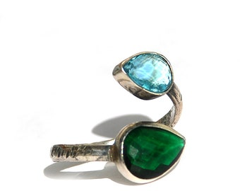Green and Blue Zirconium Double Stone Twisted Silver Ring, hammered ring, dark green ring, aquamarine ring, double stone ring, oxidized