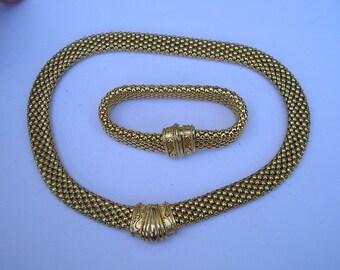 Magnetic Mesh Ornate Goldtone Necklace & Bracelet Set