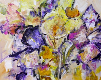 """FLORAL ABSTRACT PAINTING """"Spring's First"""" Acrylic on 22"""" x 28"""" canvas Original Art by Contemporary Abstract Artist Elizabeth Chapman"""