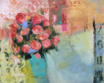 """FLORAL ABSTRACT Still Life PAINTING """"Royal Rosette"""" Original Art Acrylic on 20"""" x 24"""" canvas by Contemporary Artist Elizabeth Chapman"""