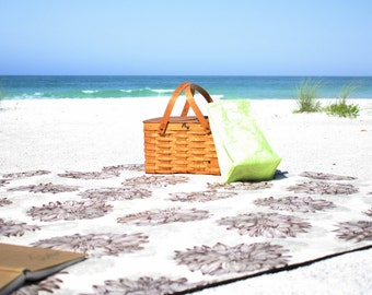 50%OFF! Organic Cotton Picnic Blanket - Outdoor Throw - Eco Friendly - Washable - Brown/Natural Floral w/ Aqua Blue Reverse