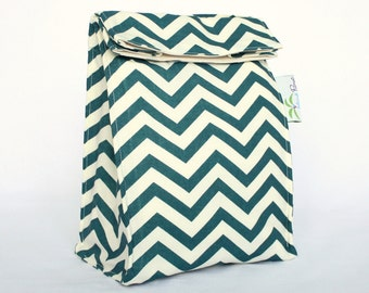 Teacl Blue Chevron Organic Lunch Bag - Organic Cotton, Eco Friendly, Fully Insulated - Back to School Waste Free