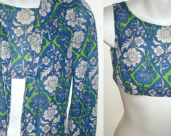 vintage 1970s beachwear summer floral bra top and cover up blouse handmade XXS womens or girls