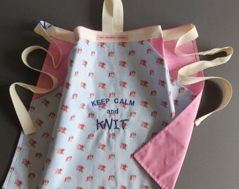 SALE LINE ...Knitting apron,Reduced in price Keep Calm and Knit embroidery