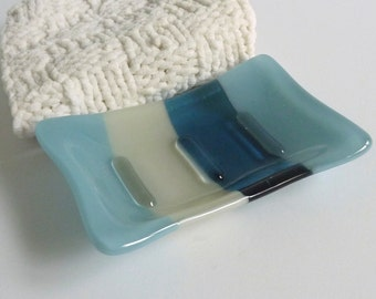 Fused Glass Soap Dish in Blues and Gray