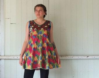 Colorsplash Cotton -  Sleeveless Mini Dress - A Line  - Combination Fabrics -