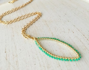 Green Seed Bead Gold Chain Necklace