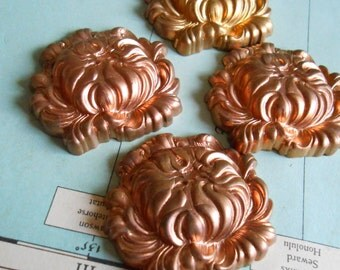 art nouveau cabbage rose nature stamping - vintage old new stock jewelry craft supplies in raw brass