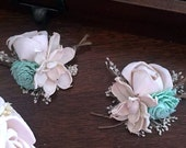 Pin Corsage or wrist corsage made with sola flowers - choose your colors - balsa wood - Alternative bouquet - bridesmaids - rustic - natural