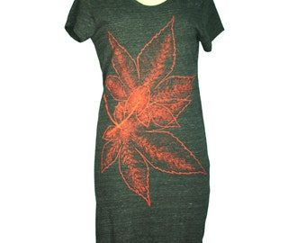 Eco Black Japanese Momiji, Maple Leaves Lakeside T-Shirt Dress, Screen Printed, Women - Gifts for Her