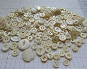 200 SMALL TINY Creamy White ChiC Vintage Mother of Pearl Buttons Great for Mixed Media Jewelry Altered Art Quilting and Much More