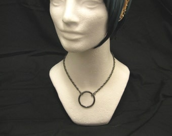 Industrial O-Ring Necklace- Gunmetal Chain and Gunmetal Gray O-Ring