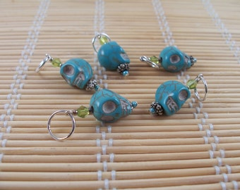 turqouise blue skull stitch markers