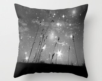Throw Pillow, Only The Stars and Me, 16x16, 18x18, 20x20, Black & White Pillow, Decorative Pillow,Cushion, Grass, Night Sky, Interior Design