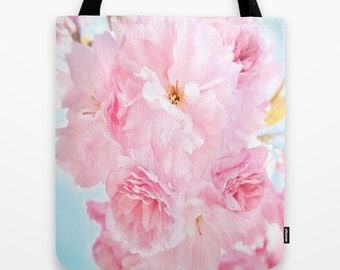 Pink Peony Tote Bag, 13x13, 16x16, 18x18, Floral Tote, Whimsy Tote, Beach Tote, Sky Blue Tote, Shoulder Bag, Market Tote, Dreamy Flower Tote