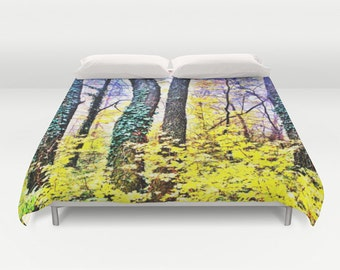 Surreal Forest Duvet Cover, Made to Order, yellow Leaves Bedding, Trees Bedspread, Decorative, Unique Design, Comforter Cover, Bedroom