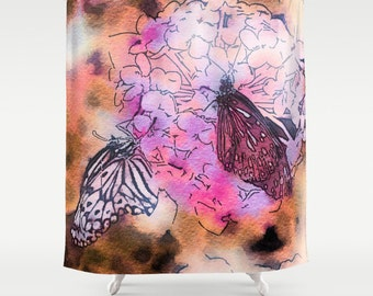 Butterfly Shower Curtain, Flower Bathroom, Fantasy Home Decor, Watercolor Shower Curtain, Colorful Home Decor, Whimsical, Garden, Summer