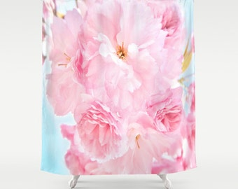 Pink Peony Shower Curtain, Flower Bathroom, Ocen Blue Sky Home Decor, Blossom Shower Curtain, Nature Home Decor, Whimsical, Surf, Dorm Decor