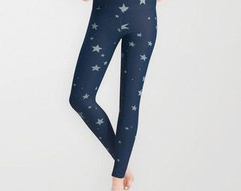 Starry Night Leggings, Halloween Leggings, Navy Blue Yoga Pants, Unique Fashion, Women, Teen Active Wear, Running Pants, Jogging Pants,Surf