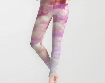 Cotton Candy Sky Leggings, Pink Yoga Pants, Cloud Leggings, Lilac Yoga Leggings, Women, Teen Active Wear, Running Pants, Jogging Pants, Surf