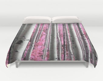 Surreal Forest Duvet Cover, Tree Bedding, Tree Duvet Cover, Made to Order, Trees Bedspread Cover, Unique Design, Pink Comforter Cover, Decor
