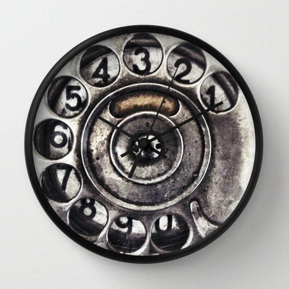 Call Me, Wall Clock, vintage, phone dial, old, home, decor, time piece, unique, cool, noir, steampunk, affordable, numbers, circle, office