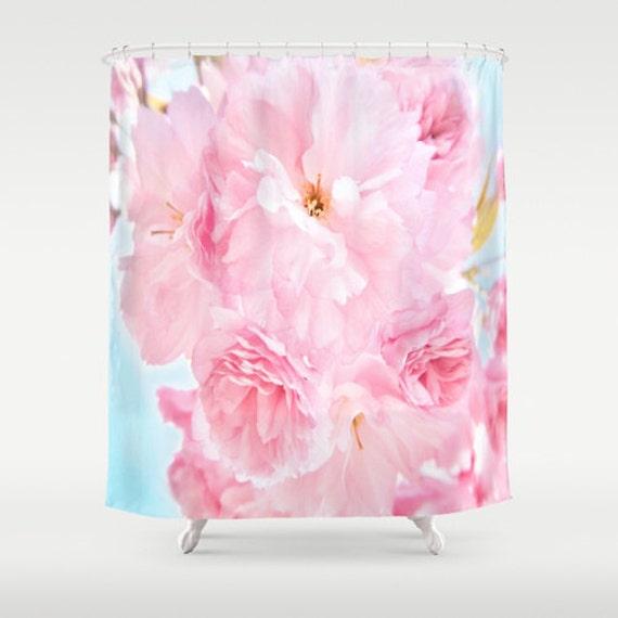 Pink Peony Shower Curtain, Flower Bathroom, Ocen Blue Sky Home Decor, Blossom Shower Curtain, Nature Home Decor, Whimsical, Surf, Dorm Decor