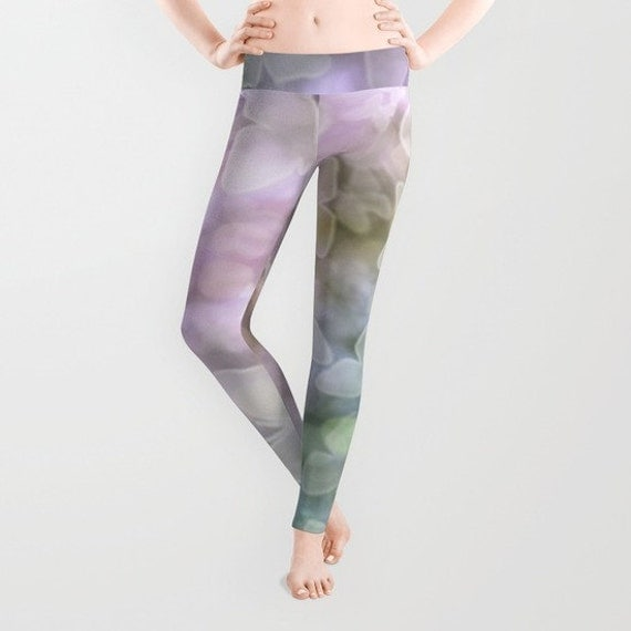 Butterfly Leggings, Lilac Teal Yoga Pants, Unique Fashion, Bokeh Yoga Leggings, Women, Teen Active Wear, Running Pants, Jogging Pants, Surf