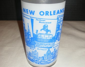 Vintage New Orleans Frosted Souvenir Kitchen Water Glass   (Court)