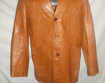 Vintage Men's Berman's Brown Leather Jacket Coat Mans Size 40