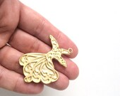 1 pc Matte 22K Gold Plated Base Whirling Dervish Sufi Pendant- SUFI 45x35mm-(025-020GP)