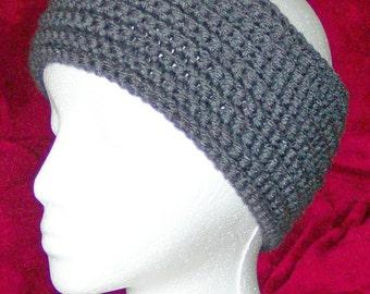 Crochet headband - charcoal gray