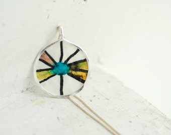 Mini Painting Necklace, Dragonfly Abstract Art Jewelry, Pop Art Pendant