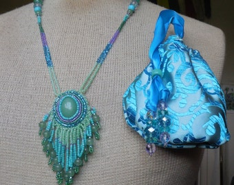 Beaded Aventurine Necklace with Turquoise / Amethyst Gemstone Beads in Sea Green / Turquoise Blue / Robin's Egg Blue / Lavender