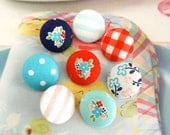 """Summer Navy Light Dark Blue Pink Red Flower Floral Stripes Checks Fabric Covered Buttons, Small Checks Floral Fridge Magnets, 0.8"""" 8's"""