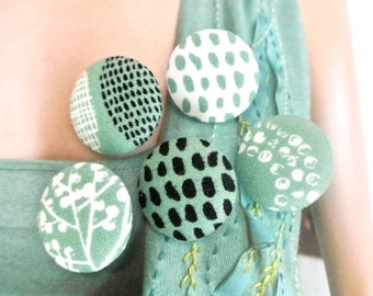"""Small Green Cream Black Tribal Ethnic Dots Leafs Floral Fabric Covered Buttons, Small Floral Magnets, Flat Back 0.8"""" 5's"""