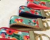 Key FOB, Blue Floral Keychain, Flower Ribbon, Beach Key Fob, Shabby Chic Key Fob,Summer, Lace By The Yard, Wrist Keychain, Flower fabric